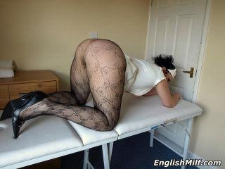Daniella in PVC nurse uniform and net pantyhose