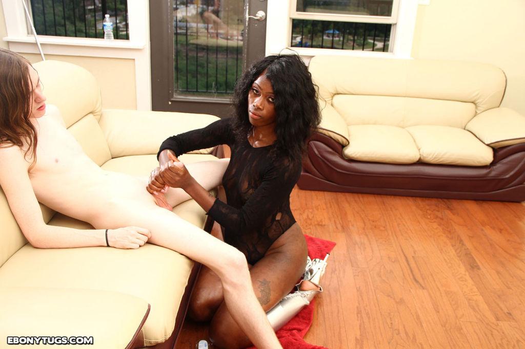 Sizzling hot ebony teen Kitty jerking big cock