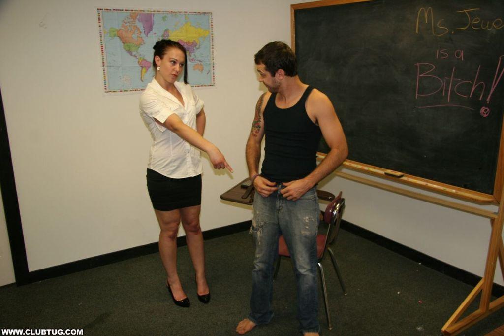 Sexy teacher stroking big cock
