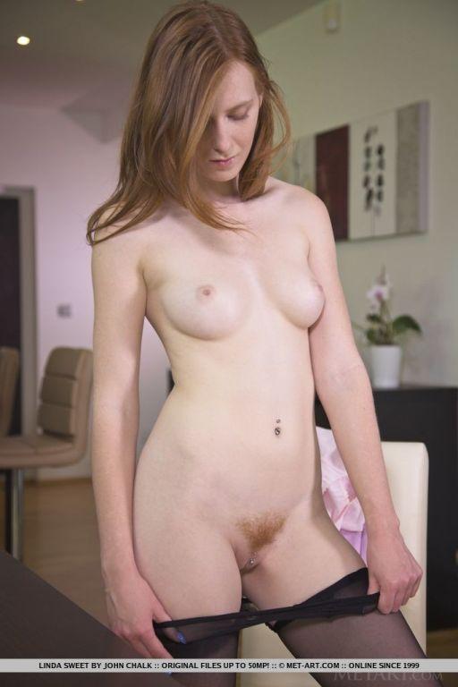 Slender redhead cutie Linda Sweet in her crotchles