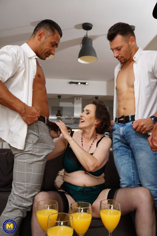 Three guys take on one horny mature Allison
