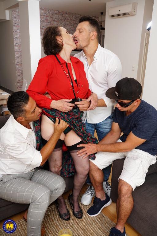 Three guys take on one horny mature Allison