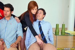 Clothed businesswomen jerk off prospective job app