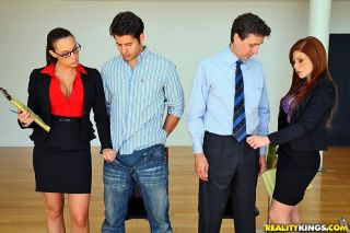 Clothed businesswomen jerk off prospective job app