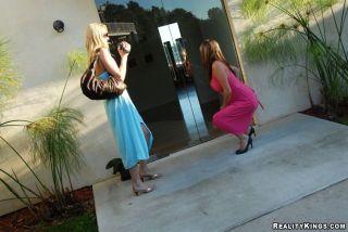 Lez milfs Rhiannon Alize and Samantha take off the