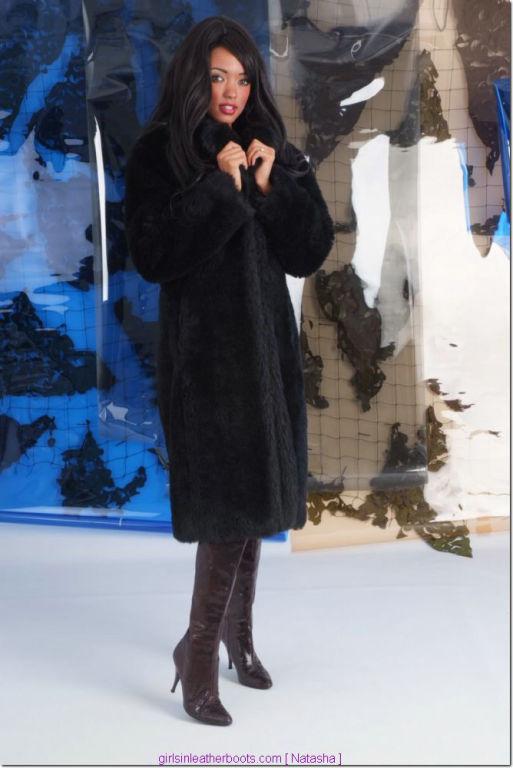 Such a sexy brunette wearing a fur coat