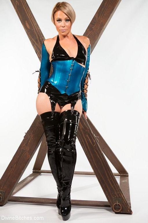 Helena Locke blonde stockings femdom strapons play