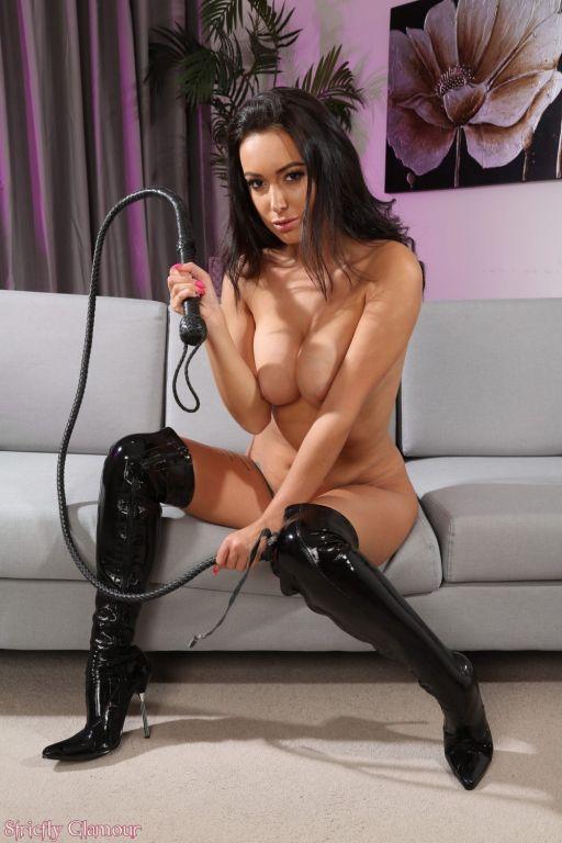 Lauren Louise in her black PVC undies and boots