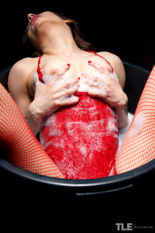 Marlyn wearing hot red lingerie and matching fishn