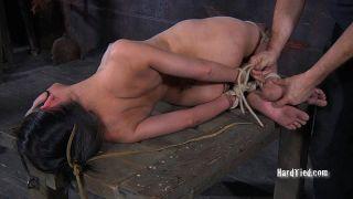 Bethany petite bondage submissive in ropes is toye