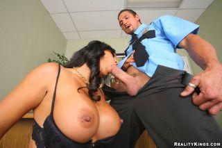 Black haired office lady Mariah Milano has hardcor