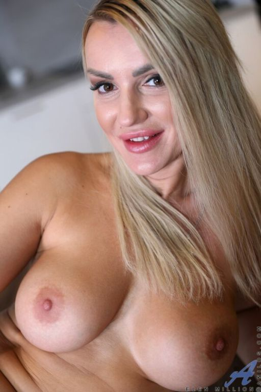 Elen Million busty blonde strips and plays with di