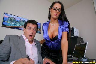 Black haired busty office beauty Kortney in glasse