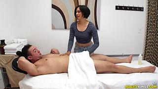 Amazing asian masseuses gives cock massage