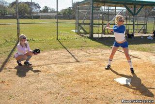 Uniformed moms have lez fun after playing baseball