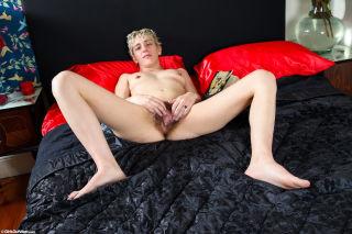 Blonde Zara masturbates with her blue vibrator