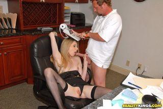sexy Chloe Parker blowjob office