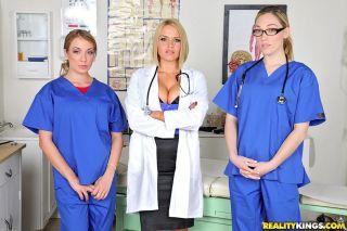 Fuckable nurses in uniform kissing and flashing th