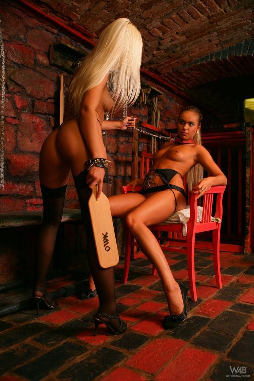 Hot lesbian blonde mistress