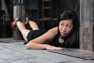 nude Tia Ling brunette bondage