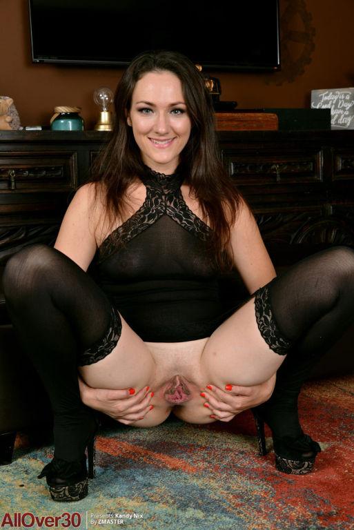 Stunning wife posing in black lingerie