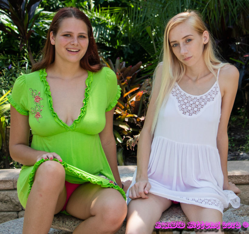 Priscilla and Liz flashing outdoors