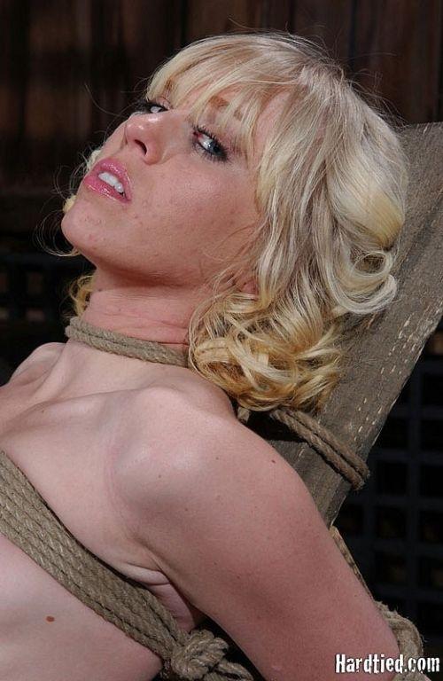Sara Jane Ceylon hot blonde is bound and exposed