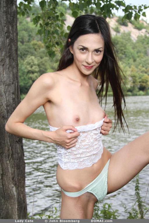 Skinny Brunette nude outdoor