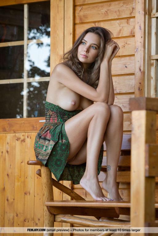 Slender Katya Clover posing naked in a country hou