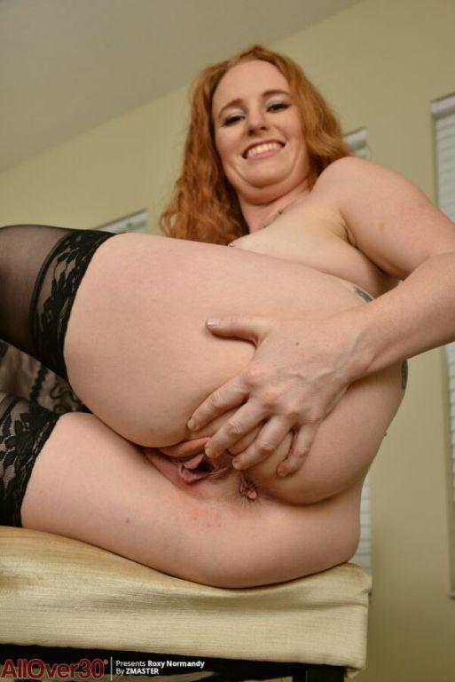 Roxy Normandy redhead mom in black stockings finge