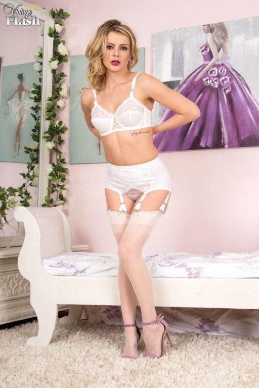 Sexy blonde Vanessa Scott teases in white nylons