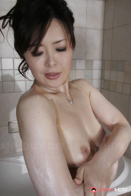 Sayaka Takase soaps her sexy body