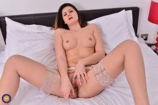 naked Eva Johnson stockings small tits