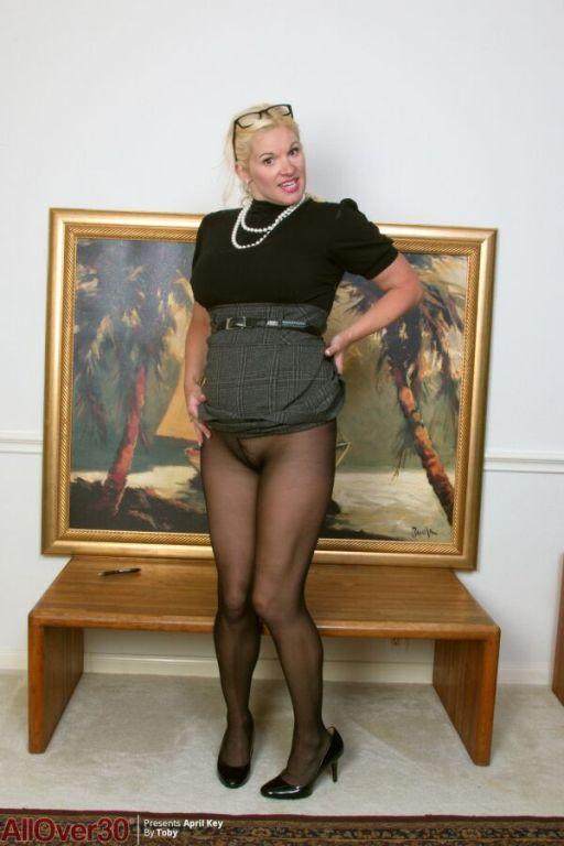Avery Johannson busty milf secretary in pantyhose