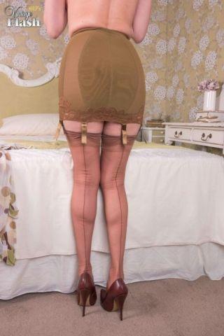 naked Amber Jayne nylon stockings