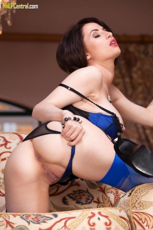 Layla Summers in her sexy blue lingerie and nylons