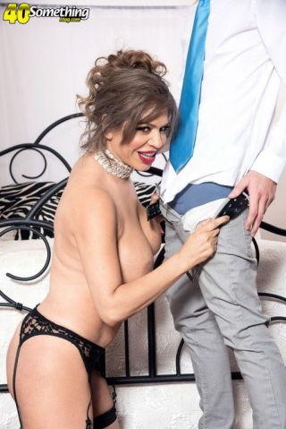 naked Andrea Grey stockings -40 something mag