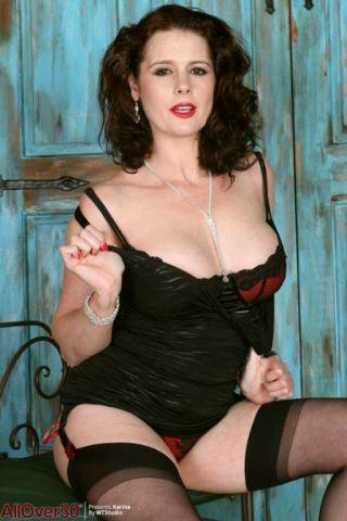 sexy Karina Currie big tits stockings