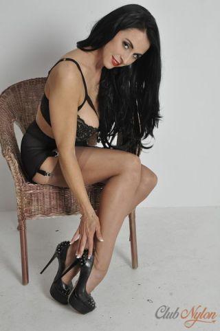 naked Louise Jenson nylon lingerie