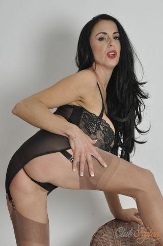 sexy Louise Jenson high heels brunette