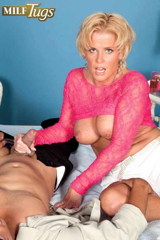 Mature Trixie Blu gives hand job and blow job