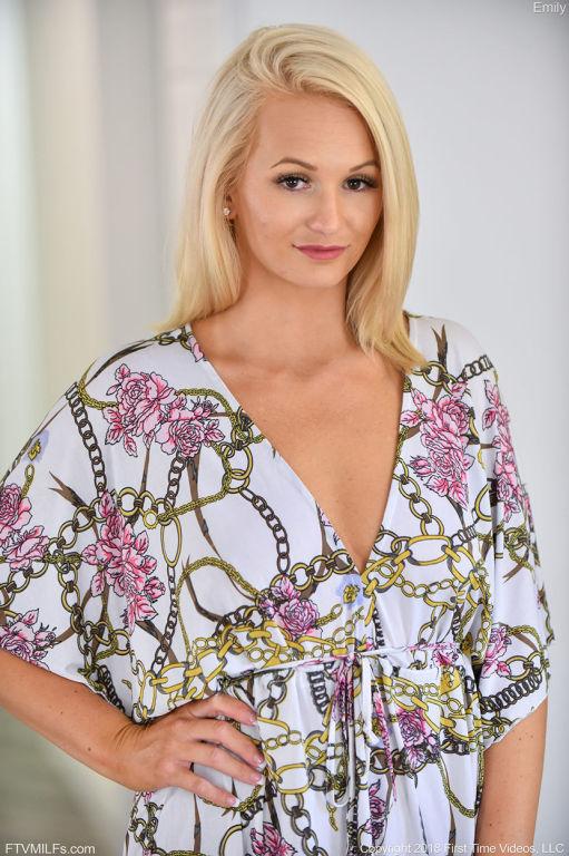 Natural blonde girl strips off her dress