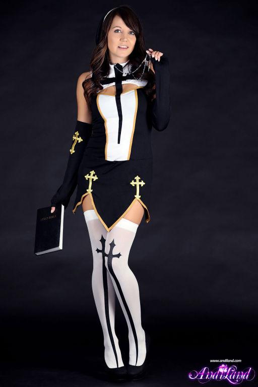 Naughty nun Andi Land teasing in her sexy uniform