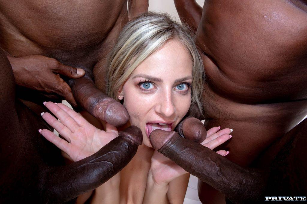 Wild Slut Takes on Four Black Studs