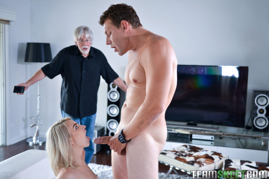 Stevie Grey enjoys sneaky sex with one of her dads