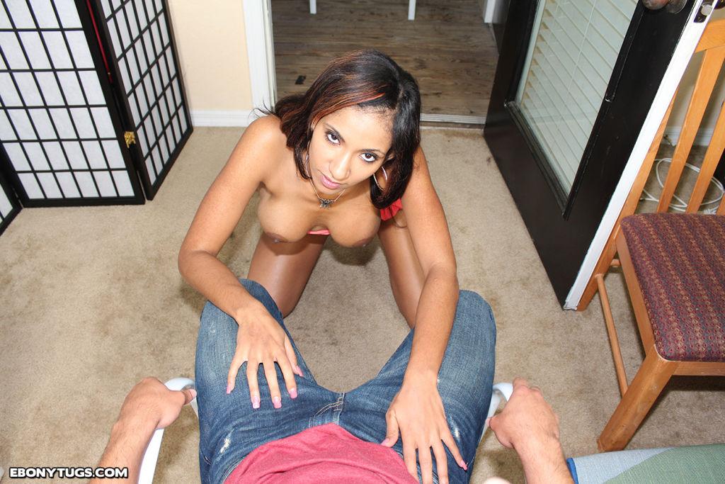 Sexy ebony babe Sadie milking huge white cock
