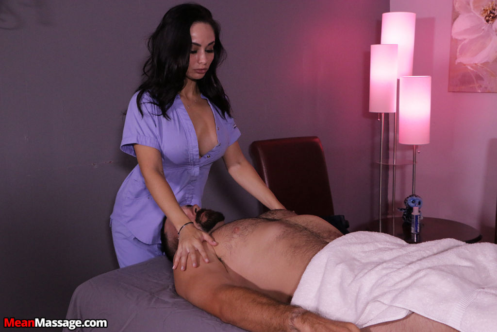 Russian masseuse stroking big cock of her client