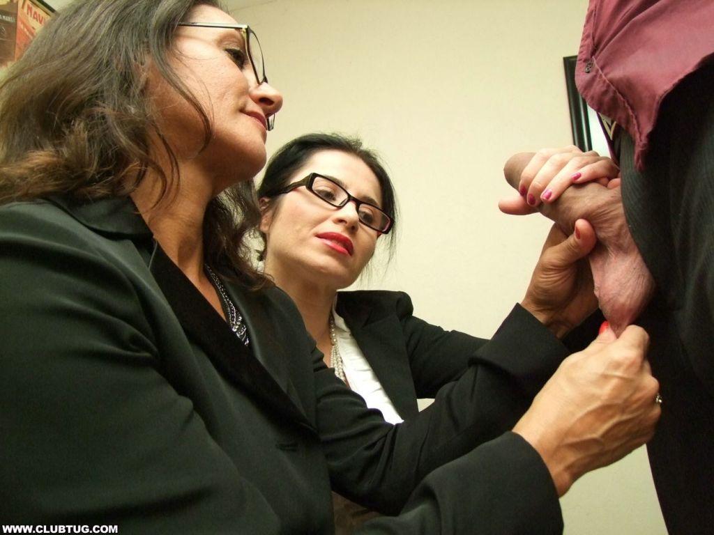 Two hot office secretarieshelped Frank to masturba