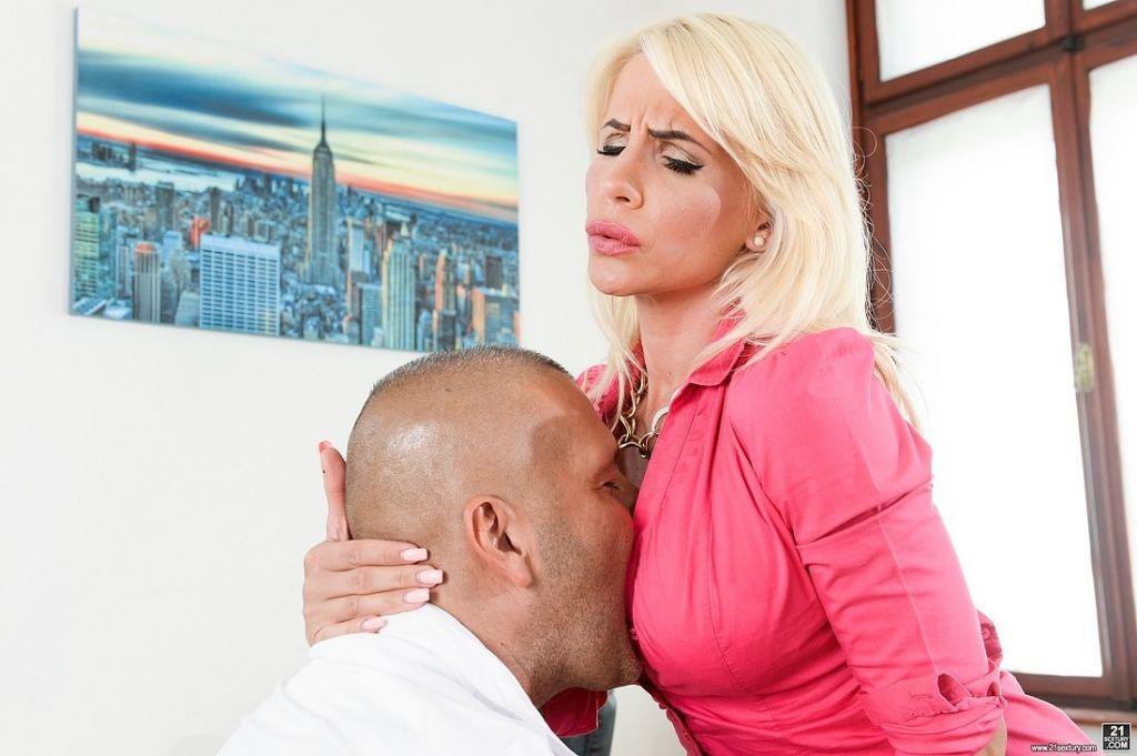 Tiffany Rousso busty blonde office babe deepthroat