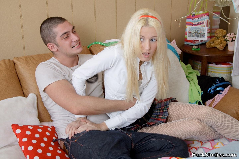 Skinny Blonde Teen Sucking